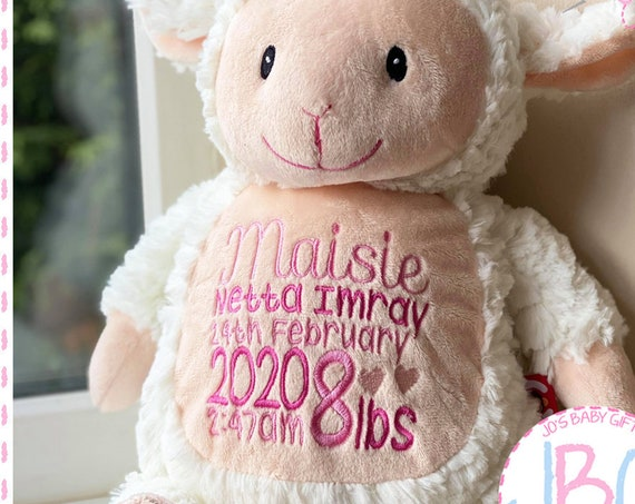 Cubbies Fluffy Lamb, Personalised Embroidered Lamb Teddy Bear, Personalised Stuffie, Great birthday gift, Signature Range