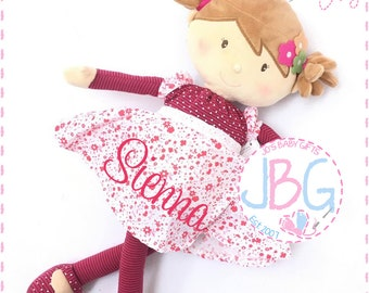 Personalised Fairy Rag Doll,Beautiful Quality Rag Doll,Embroidered Girls Gift B