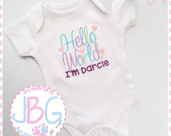 Personalized baby etsy personalised baby vestbodysuit hello world embroidered design custom baby clothes add any name new baby gift baby shower negle Choice Image