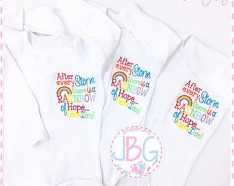 e71878557 Rainbow Baby sleepsuit onsie, Embroidered Rainbow design, After every storm baby  clothes