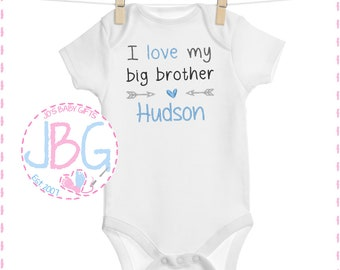 Personalised I Love My Big Sister Embroidered Baby Vest Gift Personalised