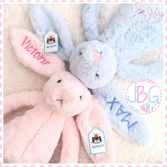 "Personalised Bunny Teddy Bear, 12"" Adorable Embroidered Bunny Rabbit, Personalised Bunny,New baby gift,Baby shower,Christening Gift,"