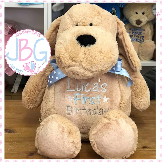 Personalised Embroidered Dog Teddy Bear, Classic Brown teddy, New baby Gift/Keepsake, Plush soft toy, Luxury gift