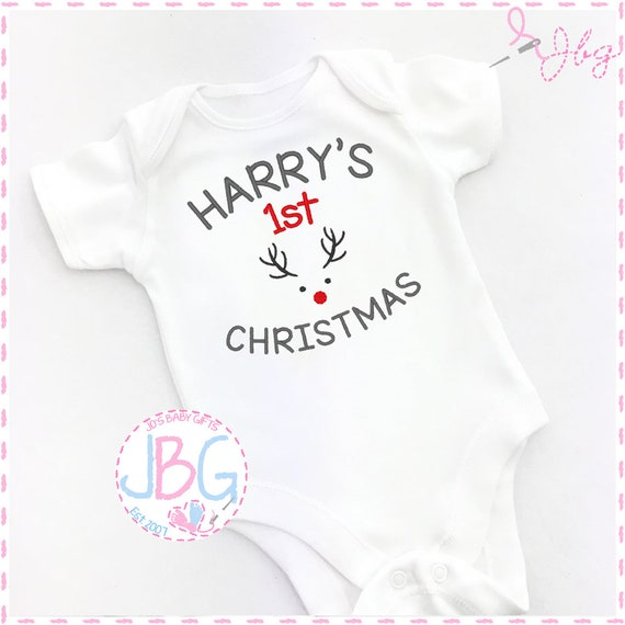 Personalised Baby First Christmas Vest, Embroidered bodysuit, 1st christmas reindeer bodysuit