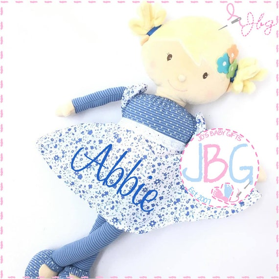 Personalised Rag Doll - Blue with Blonde hair - Beautiful Quality Rag doll - Embroidered baby girls gift - Birthday or new baby gift