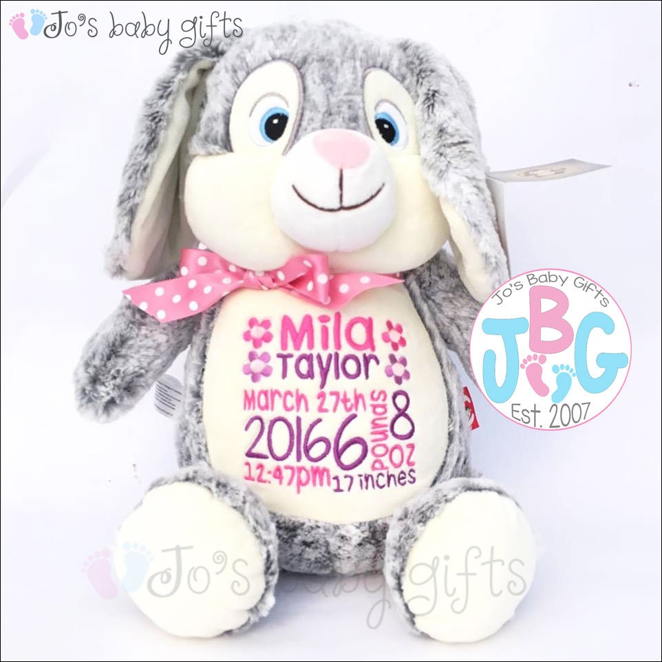 personalised bunny rabbit teddy bear embroidered teddy custom