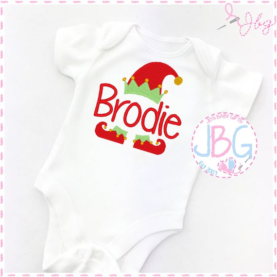 Personalised Baby Christmas Vest, Embroidered Elf Onsie/ Bodysuit, Elf hat & shoes, 1st Christmas Gift