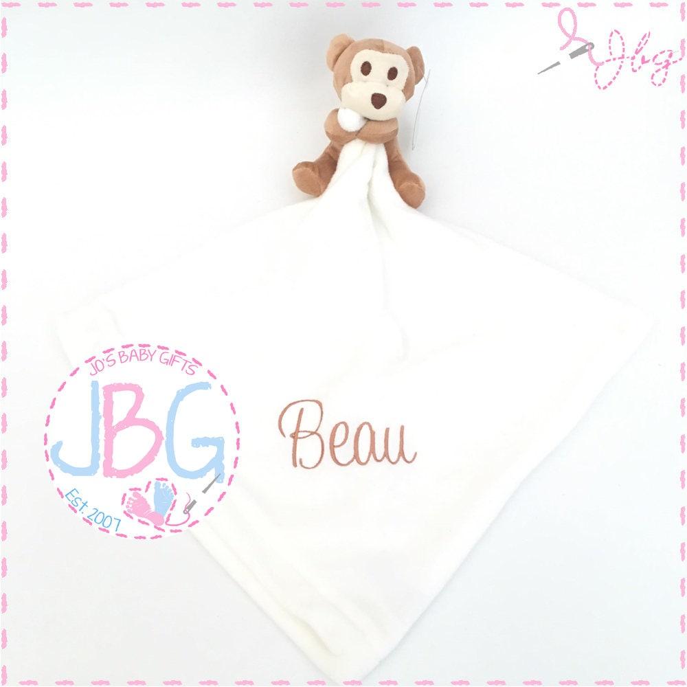 Baby Comforter Embroidered Monkey Blankie Personalised Monkey Comforter