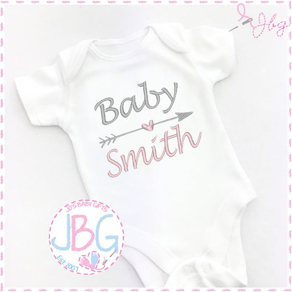 Personalised Unisex Baby Vest/bodysuit, Embroidered Baby Grow, Baby Shower/New Baby Gift, Lovely Quality Gifts