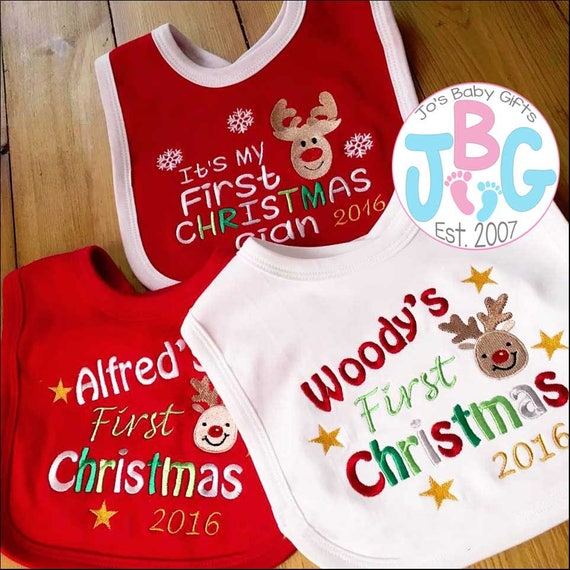 Personalised Baby First Christmas 2020 bib, First christmas Rudolf Design, Embroidered with any name, baby bib
