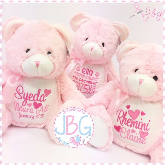 Pink Personalised Bear - Embroidered Teddy Bear Gift - New Baby Gift Present