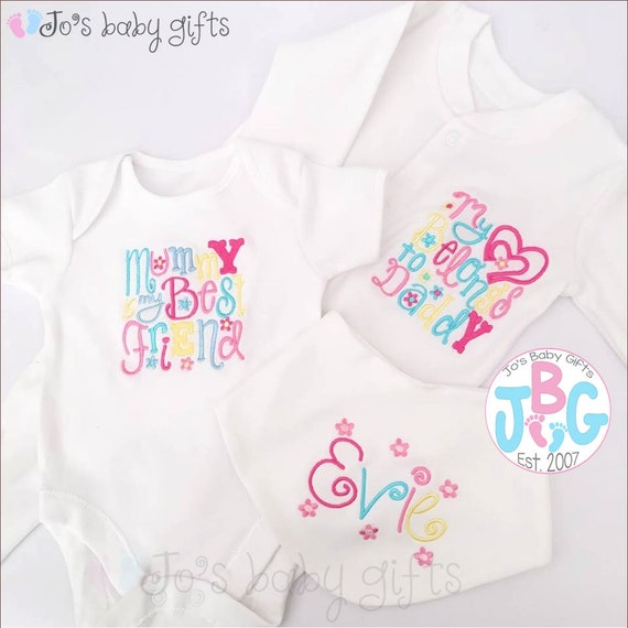 Personalised baby girls clothes set, embroidered bib, vest and sleepsuit, custom baby clothes, Perfect new baby or christening gift, newborn