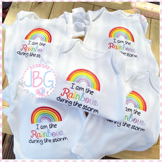 I am the Rainbow - Embroidered Baby Vest -  Baby Bodysuit - During the Storm Design -  Baby gift - 2020