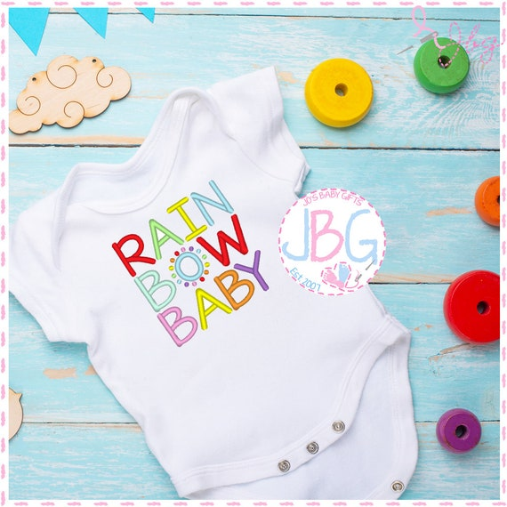 Rainbow Baby - Unisex Embroidered Vest - Bodysuit -Baby Grow - Pregnancy Announcement