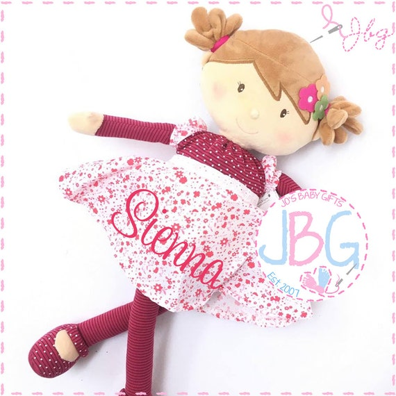 Personalised Rag Doll - Pink with Light brown hair - Beautiful Quality Rag doll - Embroidered baby girls gift - Birthday or new baby gift