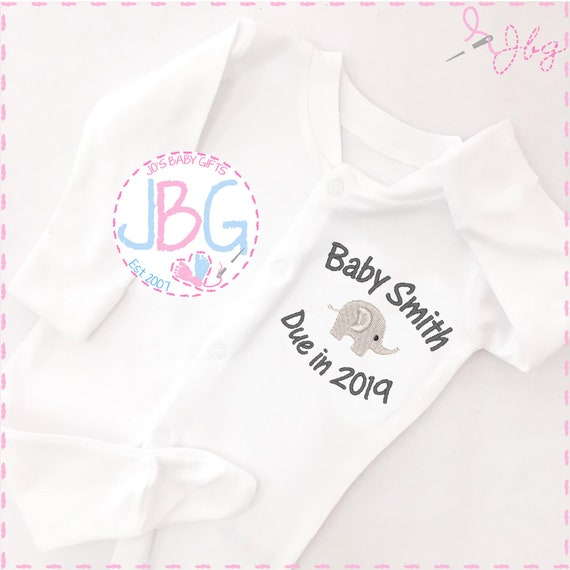 Personalised Baby Elephant Sleepsuit, Due 2020, baby grow onsie,  unisex baby gift, embroidered onsie, baby shower, christening gift,clothes