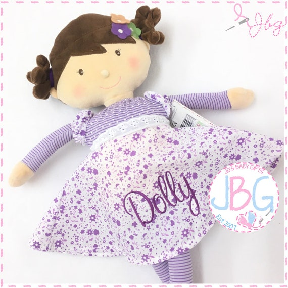 Personalised Rag Doll - Lilac with dark hair - Beautiful Quality Rag doll - Embroidered baby girls gift - Birthday or new baby gift