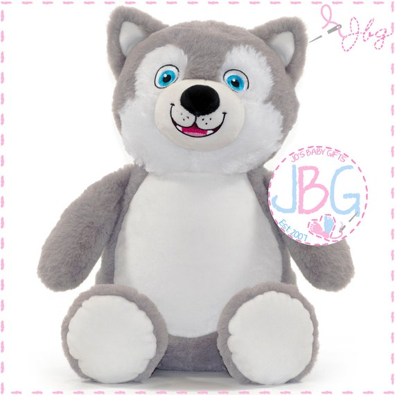 Cubbies Husky Bear, Personalised Embroidered Husky Teddy Bear, Personalised Stuffie, Great birthday gift, Signature Range