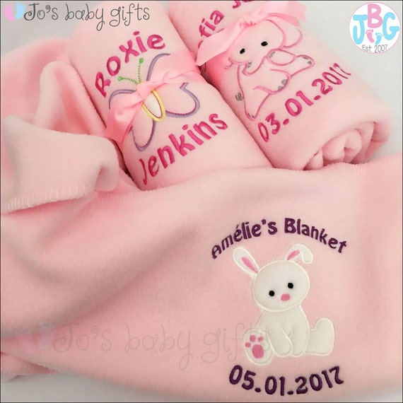 Personalised Baby Blanket, Pink fleece blanket,  Embroidered with babies details