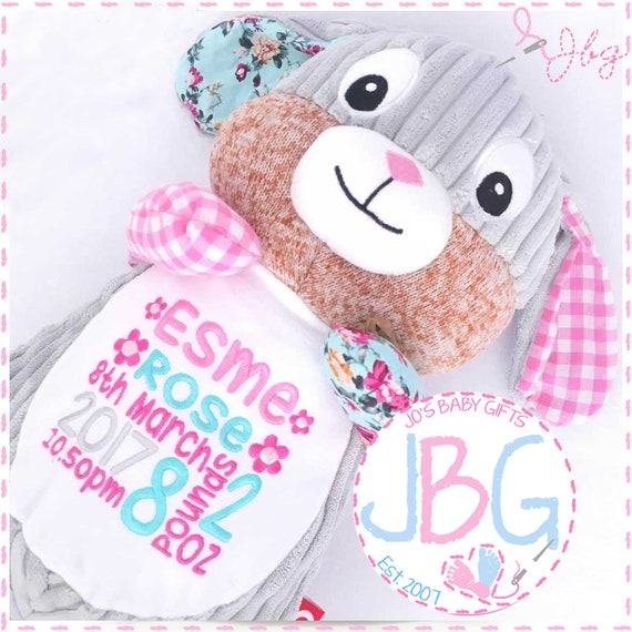 Personalised Bunny Rabbit, Cubby Teddy Bear, Cubbies gift, new baby girl gift