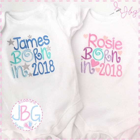 Personalised Baby Vest/Bodysuit 'Born 2017/2018' Embroidered text, add any wording to this vest