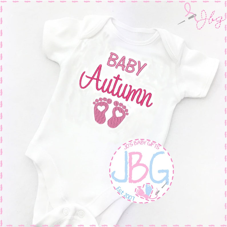 9842f4d43256d Personalised Baby Girls Vest Embroidered Onesie Pregnancy   Etsy