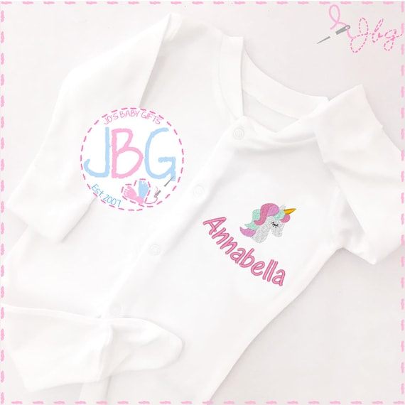 Personalised Baby Unicorn Sleepsuit, baby grow Sleepsuit, unisex baby gift, embroidered onsie, baby shower, christening gift, baby clothes