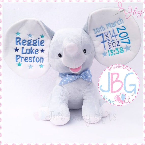 Personalised Blue Teddy Bear Dumble, Cubbie Dumble Elephant, Teddy Bear Gift, New Baby Present, Custom Embroidered Bear, Cubby Teddy Bear