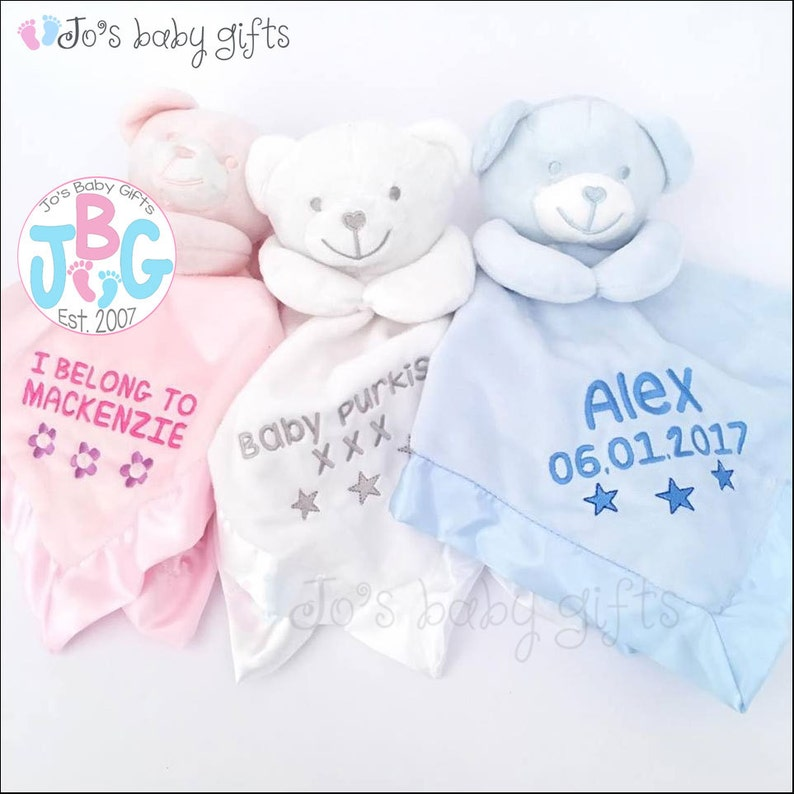 90369b04a2fb9 Personalised Baby Comforter, Teddy Bear Comfort blanket, New baby gift,  baby boys and girls snuggle teddy, silk backing, teddy bear, blanket