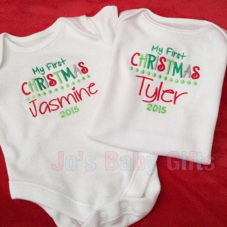 First christmas Design Personalised Baby Christmas vest onsie Embroidered with any name