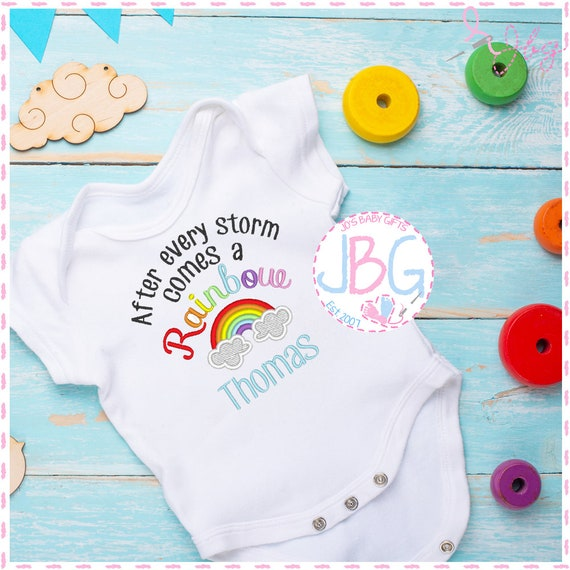 EMBROIDERED 'After every storm' Personalised Baby Vest - Baby Bodysuit - rainbow design - Baby gift