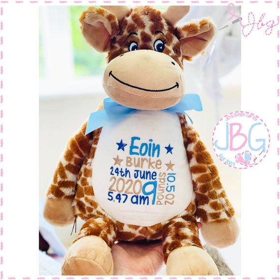 Giraffe  Personalised Bear - Embroidered Teddy Bear Gift - New Baby Gift Present