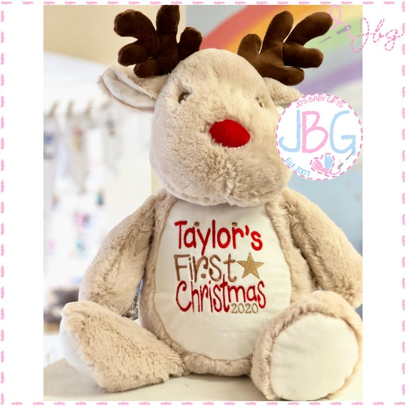 Large Christmas Reindeer - Personalised 2020 - Soft Fluffy & Cuddly - Embroidered with any name