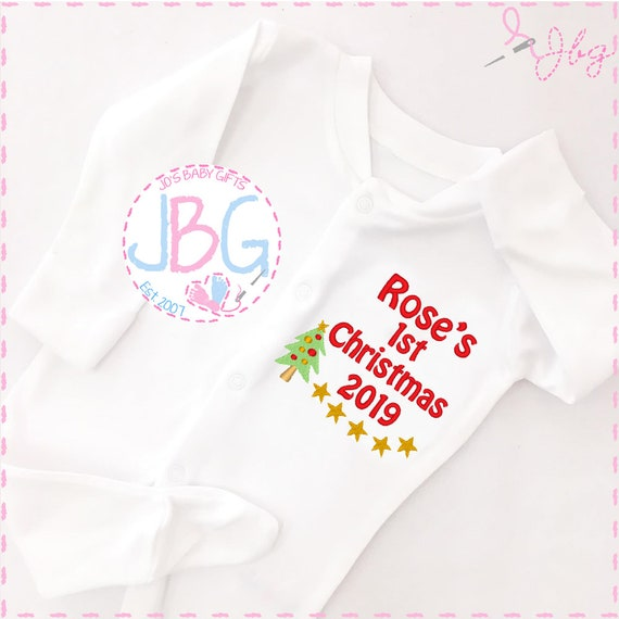Personalised Baby Christmas Sleepsuit / BabyGrow, First christmas Rudolf Design, Embroidered with any name