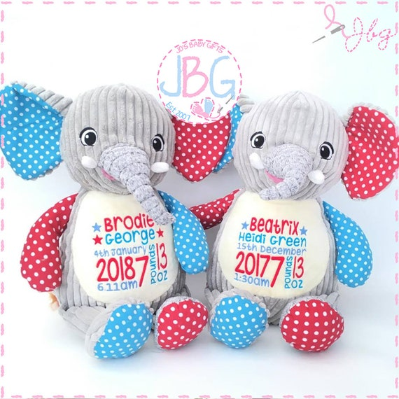 Personalised Elephant Teddy Bear, Cubby teddy bear, Embroidered Baby Teddy, New baby gift, Harlequin Cubbies