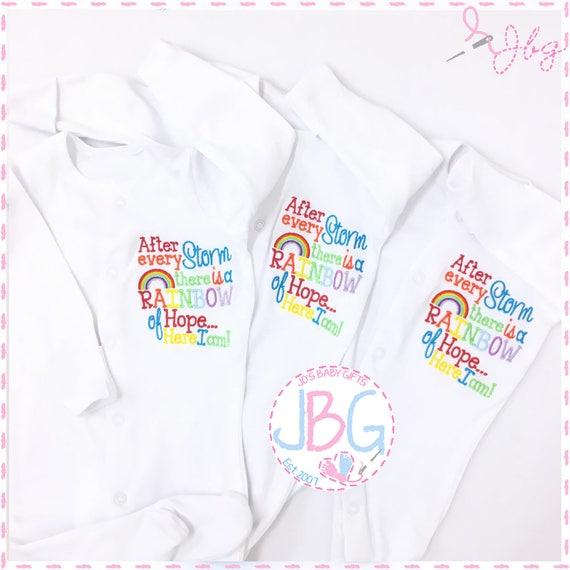 Rainbow Baby sleepsuit onsie, Embroidered Rainbow design, After every storm baby clothes