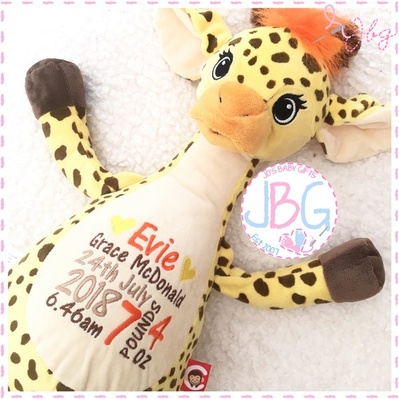 Cubbies Giraffe, Personalised Embroidered Giraffe Teddy Bear, Personalised Stuffie, Great birthday gift, Signature Range
