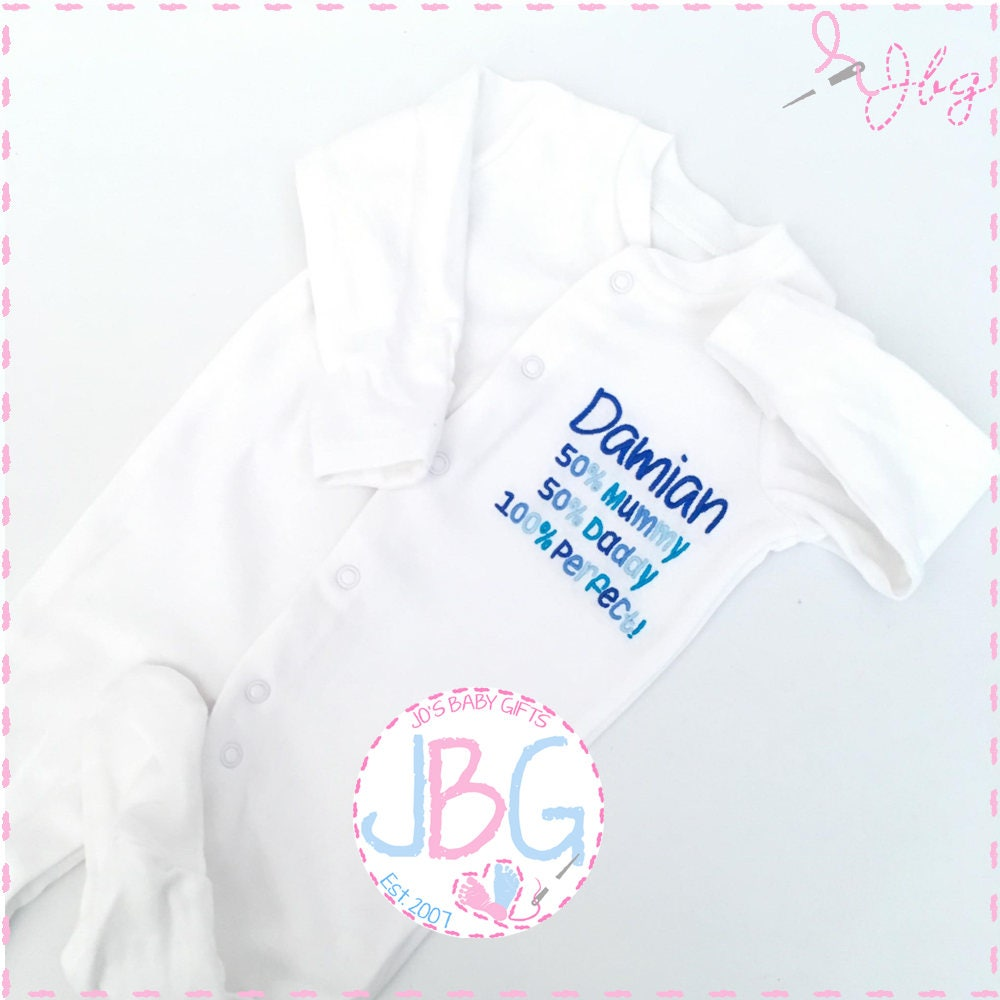 Personalised Baby grow//Sleepsuit...Any name and any colour embroidery