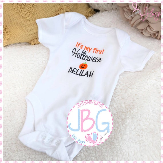 Personalised Baby First Halloween Vest, Embroidered Onsie, Fun gift for a new babies halloween, First Halloween
