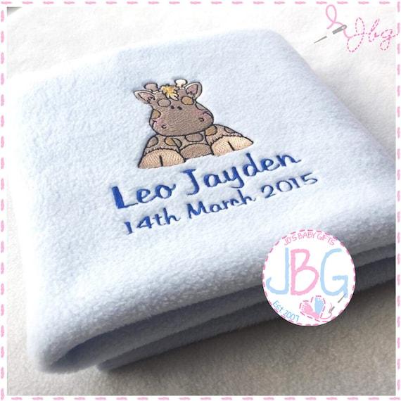 Personalised Baby Embroidered Blanket - Fleece Giraffe Blanket - Little Boys Gift