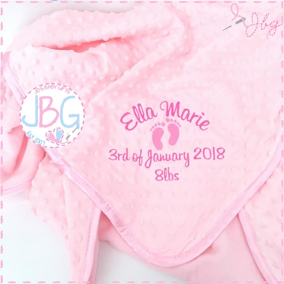 Personalised baby girls blanket, bubble embroidered baby blanket, new baby gift