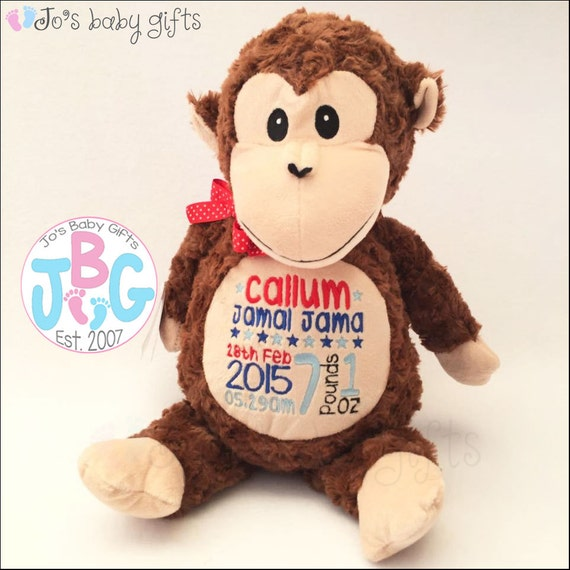 Personalised Monkey Teddy Bear, Cubbies Teddy Bear, Embroidered Bears , Custom Teddy, New baby gift, baby shower gift, christening, Cubby