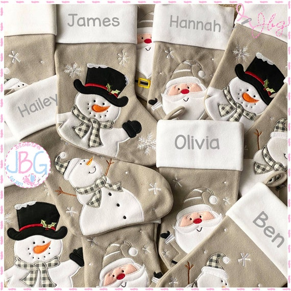 1 grey luxury christmas stocking - Embroidered personalised christmas stockings.