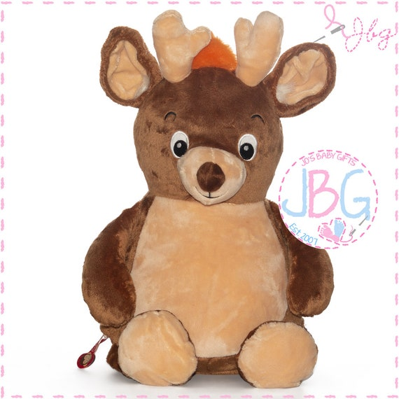 Cubbies Deer, Personalised Embroidered Deer Teddy Bear, Personalised Stuffie, Great birthday gift, Signature Range