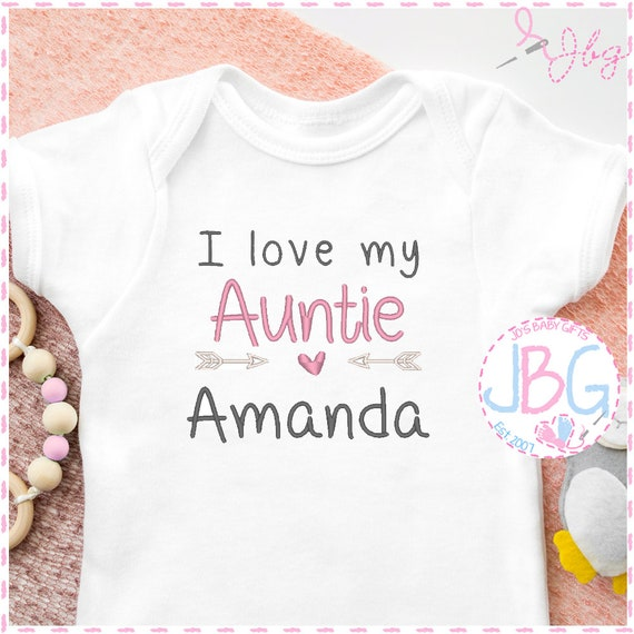 Personalised 'I Love My Auntie' Baby Girls Vest - Embroidered Bodysuit - Fun Gift for Neice - Baby Grow