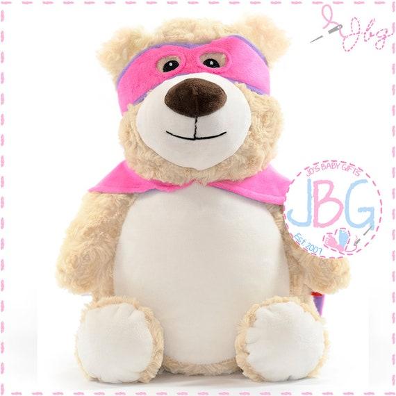 Personalised Teddy Hero Bear, Superhero Teddy bears, Embroidered Custom Bears, New Baby Teddy Bear Gifts, Birth Stat
