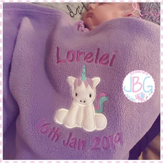 Personalised Baby Blanket - Fleece Unicorn Blanket - Little Girls Gift