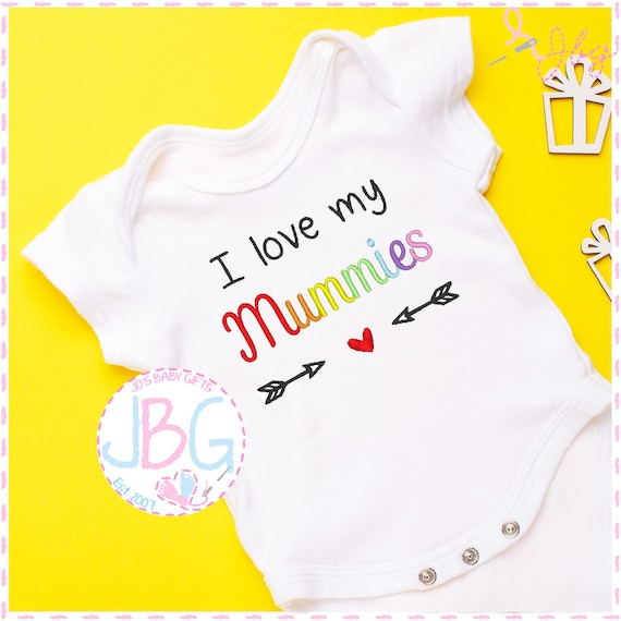 I love my Mummies - Embroidered LGBT Baby Vest - Gay Pride - I love my 2 Mummies - Rainbow