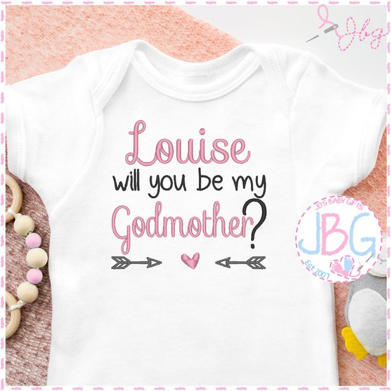 Personalised 'Godmother' Baby Girls Vest - Embroidered Bodysuit - Christening - Baby Grow