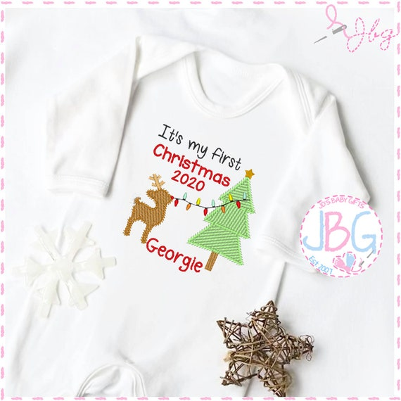 Personalised Baby Christmas Rompersuit / BabyGrow, First christmas Rudolf Design, Embroidered with any name